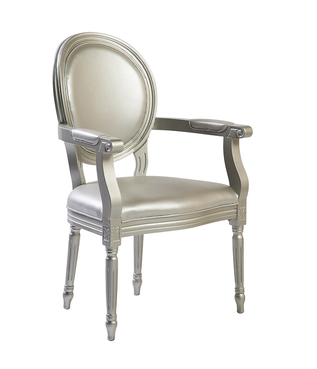 Silver Leather Armchair