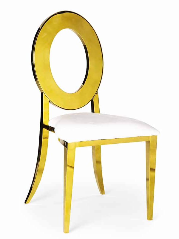Olay Chair Gold with White Cushion