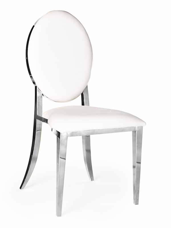 Olay Chair Silver With White Pads