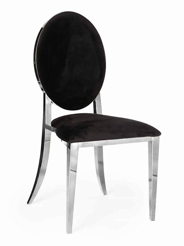 Olay Chair Silver with Black Pads