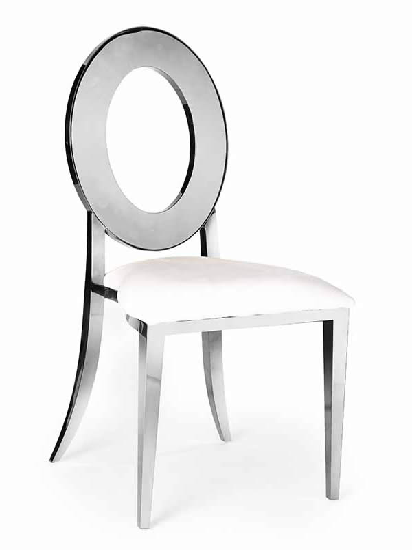 Olay Chair Silver with White Cushion