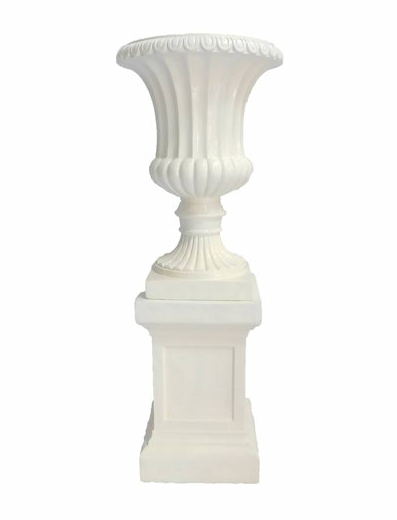 White Urn With Pedestal