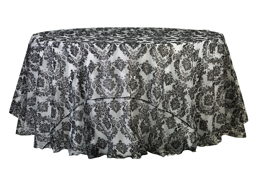 120'' & 132'' Black/White Damask