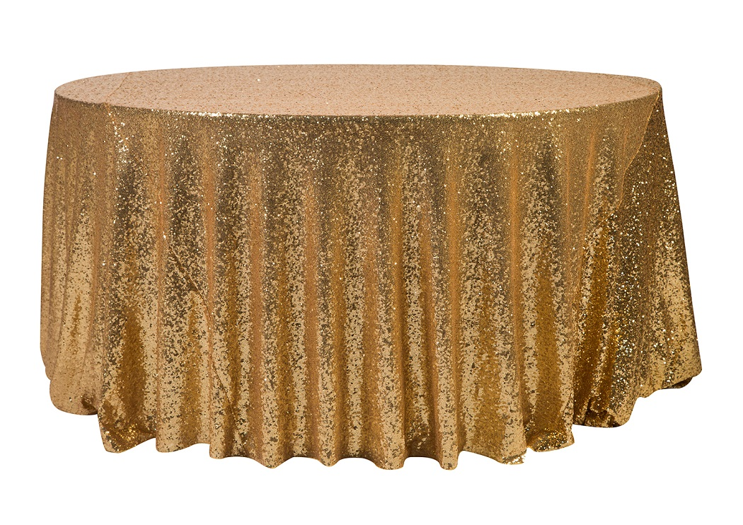 132'' Gold Sequin