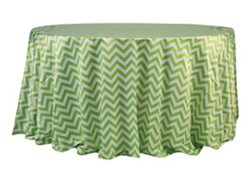 132'' Lime Green Chevron Matte Satin