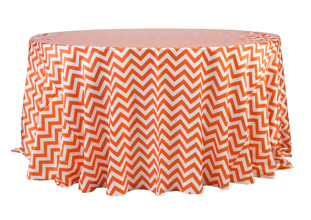 132'' Orange Chevron Matte Satin