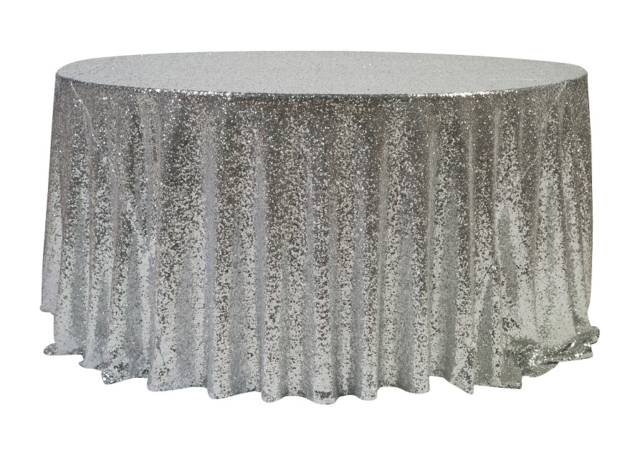 132'' Silver Sequin