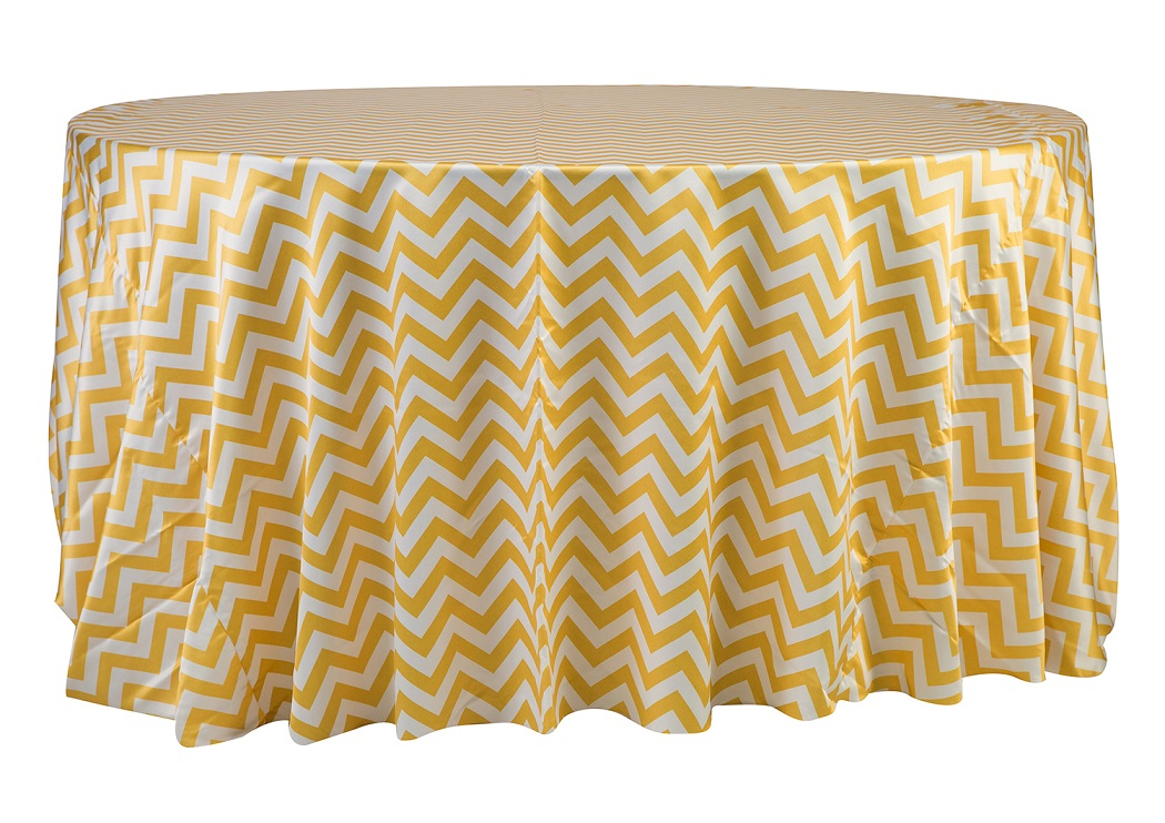 132'' Yellow Chevron Matte Satin