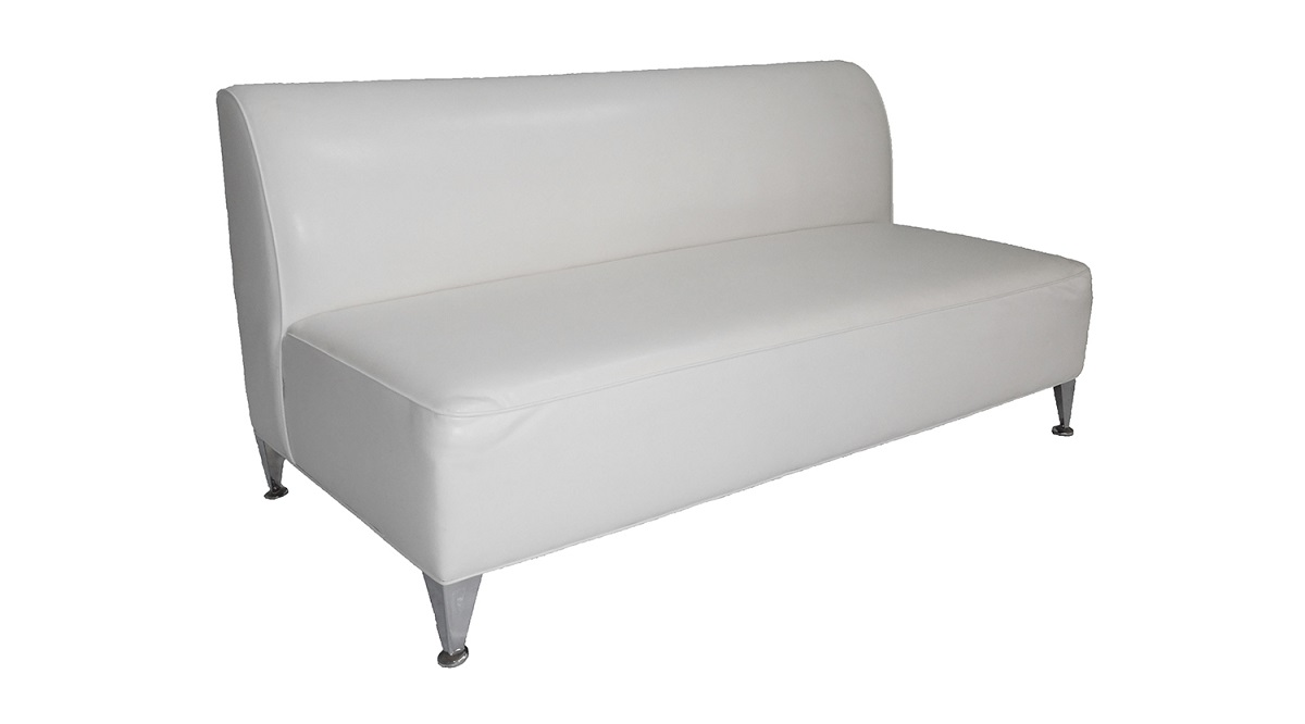 66' White Leather Sofa