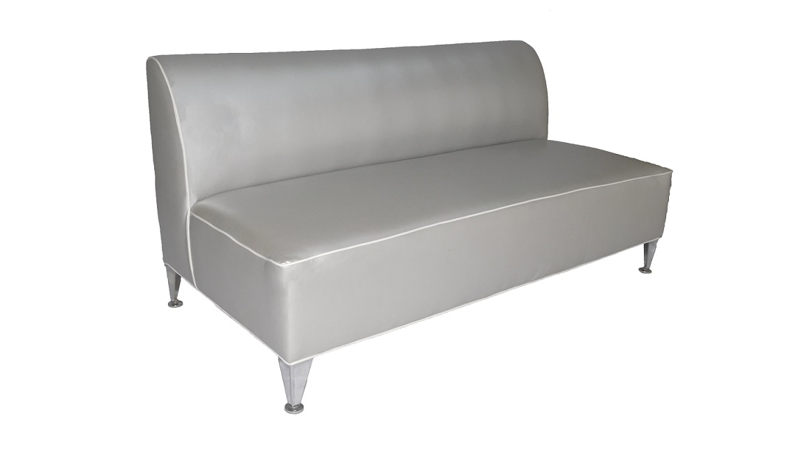 66' Silver Leather Sofa